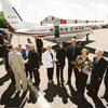 President Lennart Meri and family bidding farewell to Alberta Estonians following a visit in Stettler, 2000.