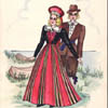 The artist's colourful drawing captures many of  the prominent features of 19th century Estonian dresswear.