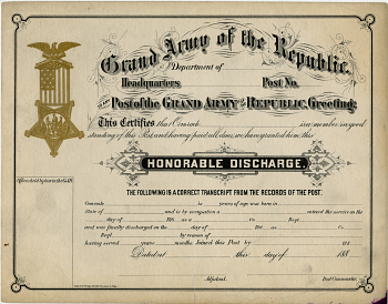 Certificate of Honorable Discharge,  Name: {