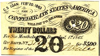 C.S. Loan. Feb. 20th. 1863 the Confederate States of America,  Name: {