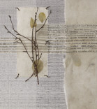 Verve Description: Handwoven silk, antique text with handmade paper,  and twigs, stitched Dimensions: H:12.00 x W:11.00 x D:2.00 Inches