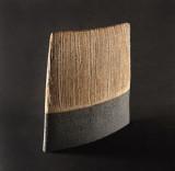 Wedge w/Vertical Lichen Description: Mid-fire stoneware Dimensions: H:7.00 x W:6.75 x D:2.00 Inches