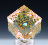 Opal Basket Cube Paperweight Description: Gilson Opal in the center of a gold and silver fume dot implosion. Cut and Polished into a cube with beveled edges. Dimensions: H:1.09 x W:1.18 x D:1.00 Inches