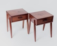 Cali Series Side Tables in Walnut g>Description: The Cali Series side tables were designed to compliment the Cali coffee table and desk. The pair have solid walnut tops that bookmatch each other, as well as grain matching solid drawer faces. The danish inspired tapered legs are removable for ease of shipment and storage. Dimensions: H:24.00 x W:20.00 x D:16.00 Inches