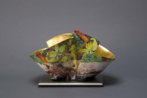 Master 1700  Description: Pair on Base. Pit fired, painted and gilded earthenware Dimensions: H:6.00 x W:9.00 x D:5.00 Inches