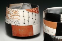 Shard Pots Description: My work is wheel thrown white earthenware clay, sanded, burnished with terra-sigillata, bisque fired and broken into several pieces. Each piece is designed and decorated, packed in saggars with combustible material and fired in a gas kiln.  After cooling, the pieces are assembled and epoxied. Dimensions: H:6.75 x W:7.50 x D:7.50 Inches
