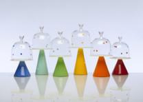 Polka Dot Dessert Stands Description: Hand blown glass. Dimensions: H:13.50 x W:6.50 x D:6.50 Inches