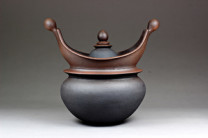 """"""" Victory Vessel"""" Description: Multiple parts. Hand-built stone ware with slips and oxides fired to cone 6 in a reduction atmosphere. Dimensions: H:17.00 x W:18.00 x D:11.00 Inches"""