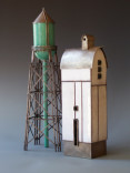"""""""Aqua Water Tower and Winter Barn II"""" Description: Fabricated objects of sterling silver and ground-glass enamel on copper, with inner support skeletons of nickel silver.  All work is done in a one-person studio. Dimensions: H:18.00 x W:9.00 x D:6.00 Inches"""