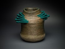 Emerald #1360 Description: Sweet grass, nylon/polyester ribbon, waxed Irish linen, artificial sinew. Dimensions: H:10.50 x W:11.50 x D:80.00 Inches