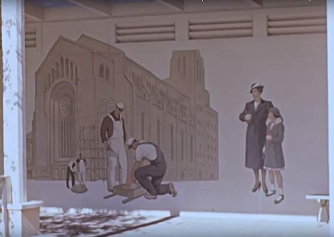 Emanu-El Hildreth Meière footage of murals and friezes at the 1939 New York World's Fair, 1939. Hildreth Meière papers, 1901-2011, bulk 1911-1960. Archives of American Art, Smithsonian Institution.