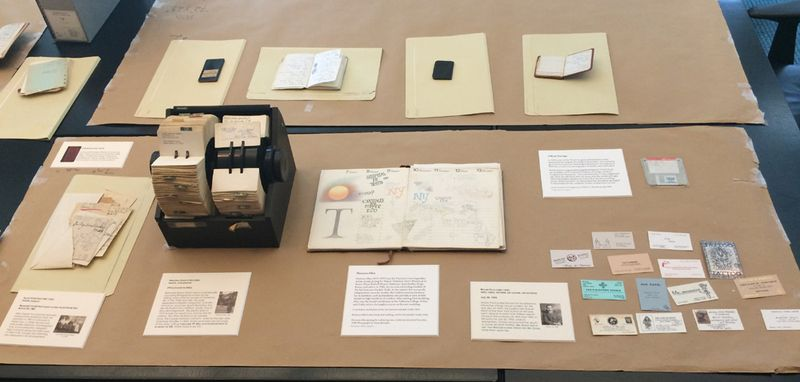 Sometimes laying out the artifacts requires problem-solving—this Rolodex was almost too big for our display case. (The floppy disk fit just fine.) Photo: Mary Savig
