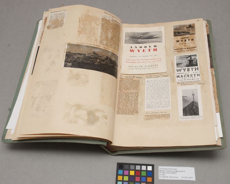 The last Macbeth Gallery Scrapbook contains items related to Andrew Wyeth's 1950 gallery exhibition. Photo: Sarah Casto.