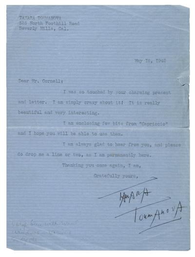 Tamara Toumanova, Beverly Hills, Calif. letter to Joseph Cornell, Flushing, N.Y., 1942 May 16. Joseph Cornell papers, Archives of American Art, Smithsonian Institution.