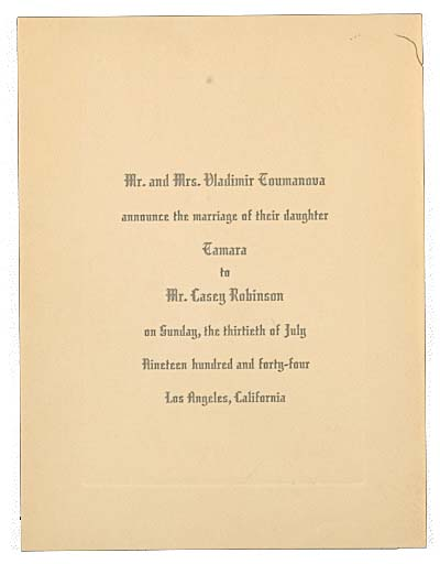 Announcement of Tamara Toumanova's wedding sent to Joseph Cornell, 1944. Joseph Cornell papers, Archives of American Art, Smithsonian Institution.