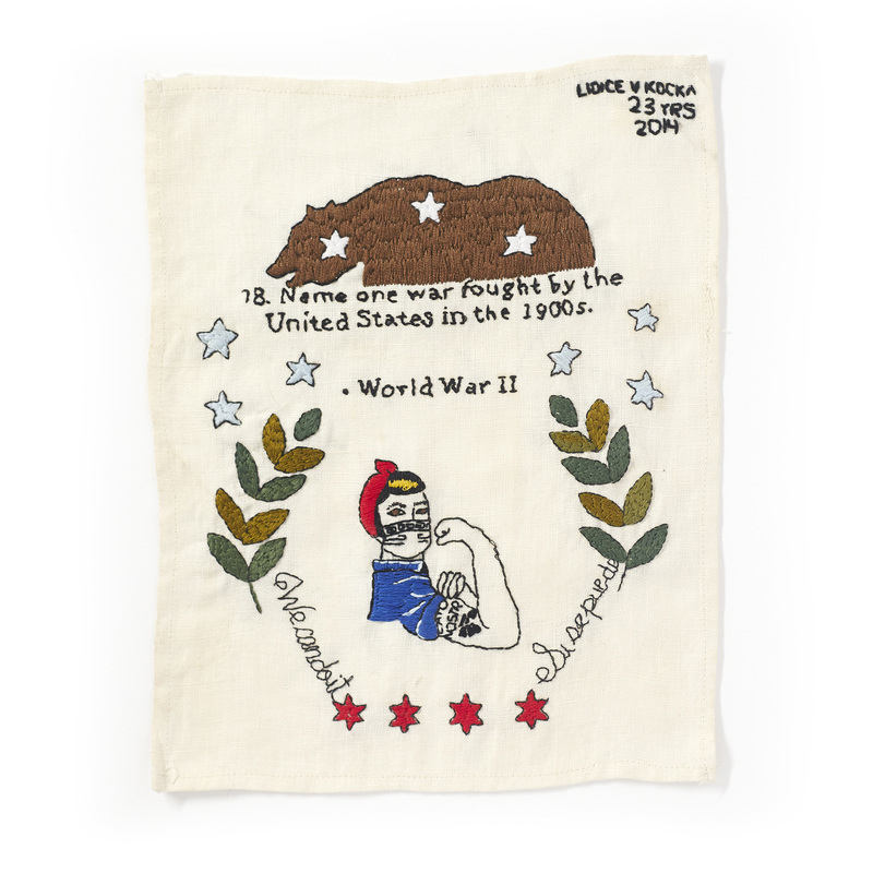 US Citizenship Question Number 78 / Name: Lidice / Age: 23 / From: Mexico / Moved to the United States in 2000, 8.5 x 11 inches, Cotton thread on linen, 2014. Photo: Jayson Cheung. Used with Permission
