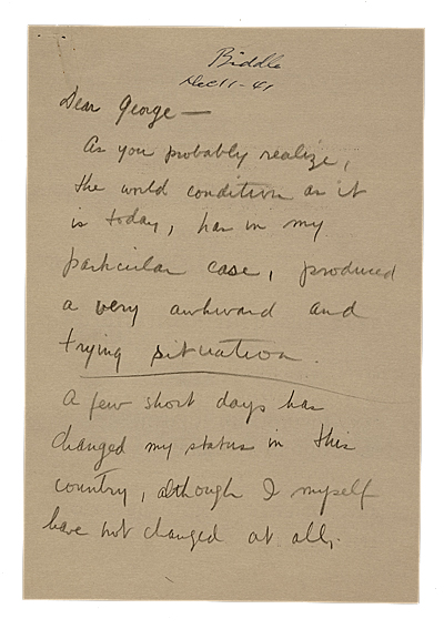 Yasuo Kuniyoshi letter to George Biddle, 1941 Dec. 11. Yasuo Kuniyoshi papers, Archives of American Art, Smithsonian Institution.