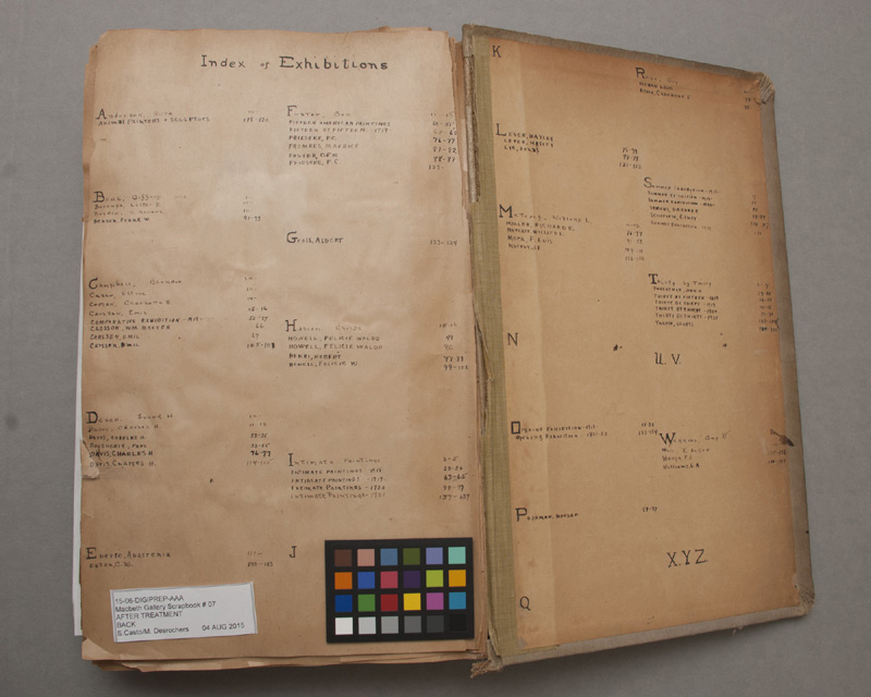 Index of exhibitions and artists found inside the seventh Macbeth Gallery Scrapbook (1918-1922). Photo: Sarah Casto.