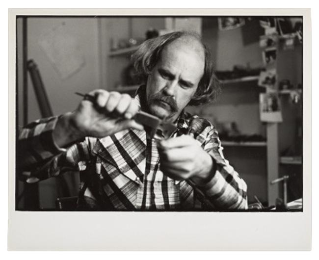Robert Ebendorf in his studio, circa 1982 / unidentified photographer. Robert Ebendorf papers, Archives of American Art, Smithsonian Institution.