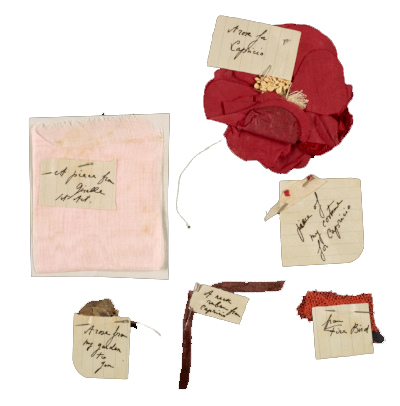 Toumanova enclosed scraps of fabric from her costumes for Capriccio, Fire Bird and Giselle, as well as a pressed rose from her garden. Tamara Toumanova, Beverly Hills, Calif. letter to Joseph Cornell, Flushing, N.Y., 1942 May 16. Joseph Cornell papers, Archives of American Art, Smithsonian Institution.