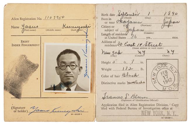 Yasuo Kuniyoshi's Alien Registration certificate, 1942 February 18. Yasuo Kuniyoshi papers, Archives of American Art, Smithsonian Institution.