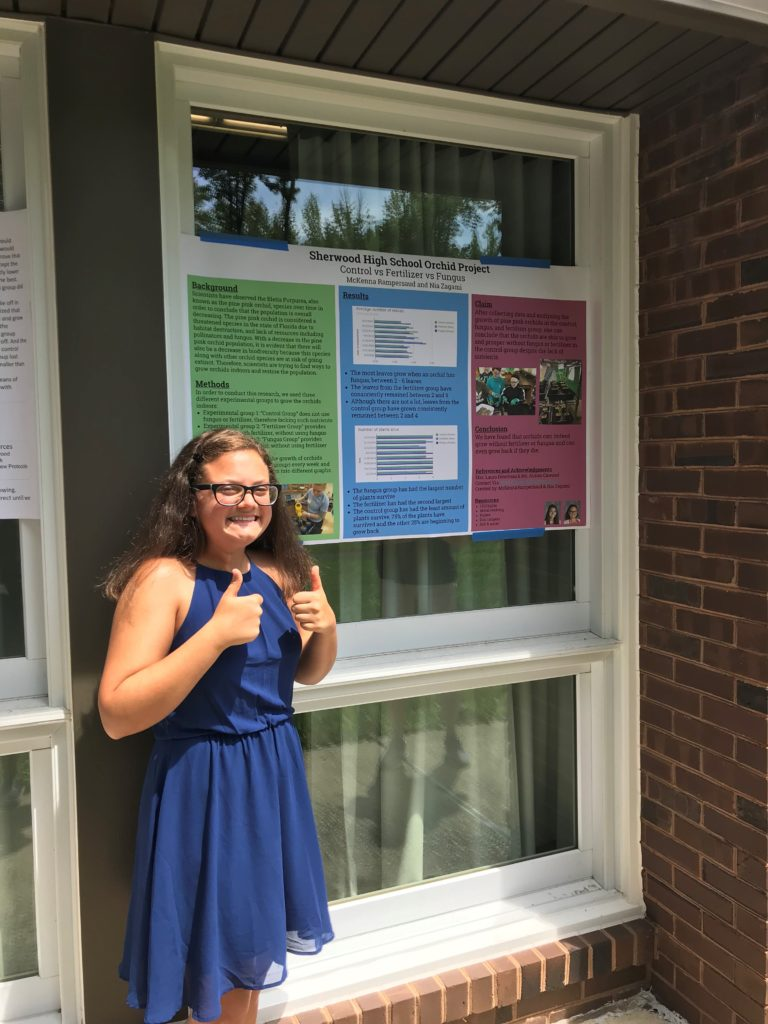 Girl giving two thumbs up in front of an orchid poster.
