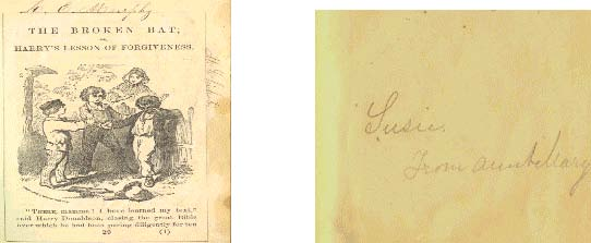 """1st image - Title page of """"The Broken Hat"""" with image of boys -- 2nd image - inscription"""