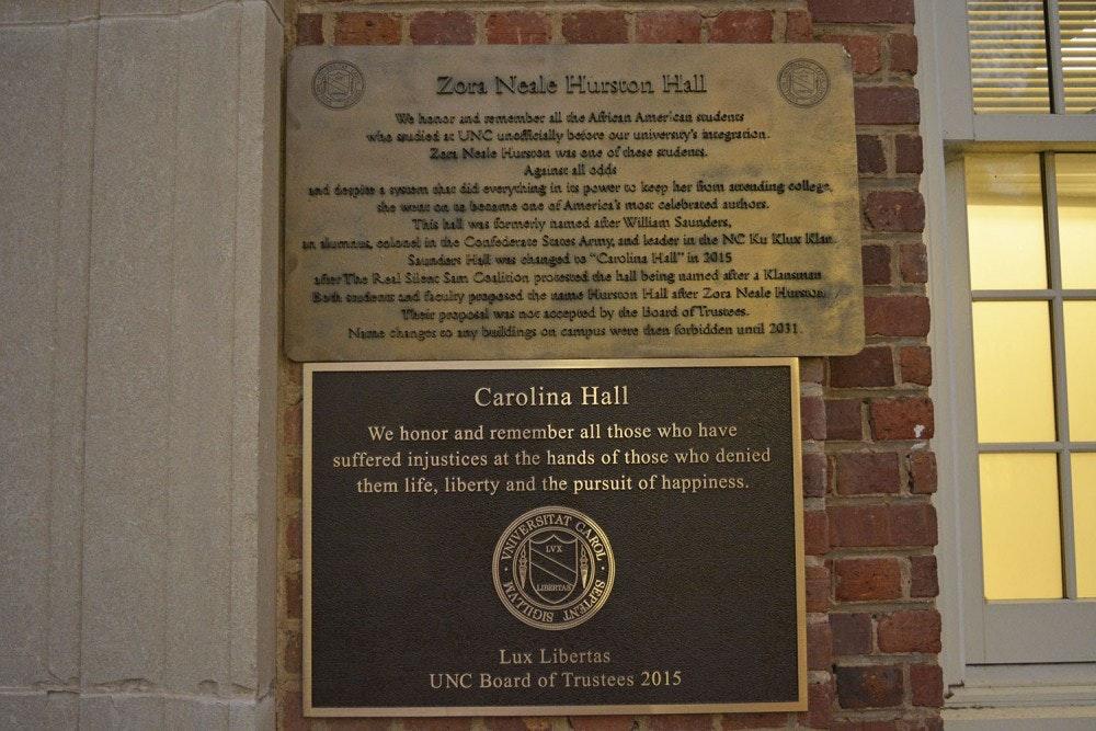 Unofficial plaque honoring Zora Neale Hurston to be taken off Carolina Hall