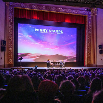 image of Stamps lecture taking place in Michigan Theater's auditorium