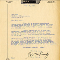 "W.A. ""Woody"" Kennedy to Bonnie Cone, September 30, 1950"
