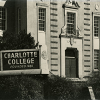Charlotte College building front and sign, circa 1950