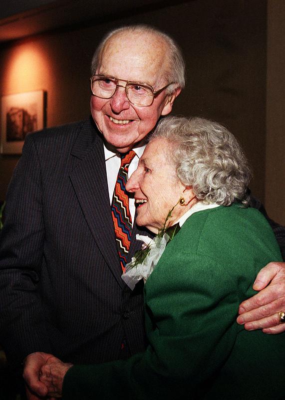 Dean Colvard and Bonnie Cone embrace, 1999