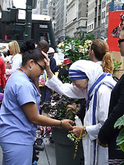 Linda Mary Montano as Mother Teresa in New York City, Aug. 25, 2010
