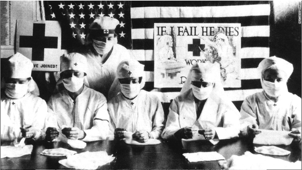 Red Cross volunteers respond to the Great Pandemic, 1918.