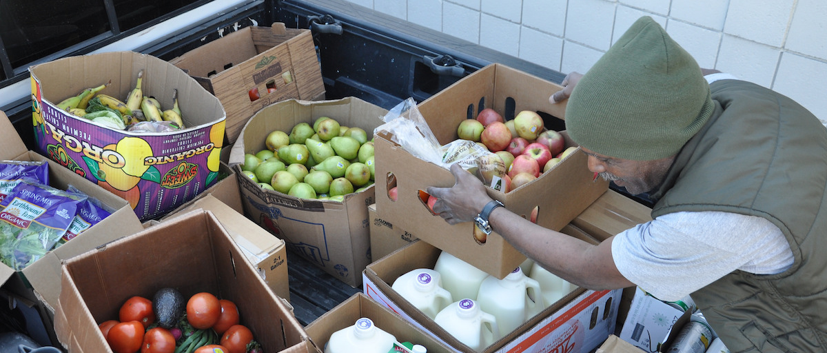 Supplies for Salvation Army food pantry in Long Beach.
