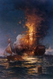 Edward Moran's Burning of the Frigate Philadelphia in the Harbor of Tripoli