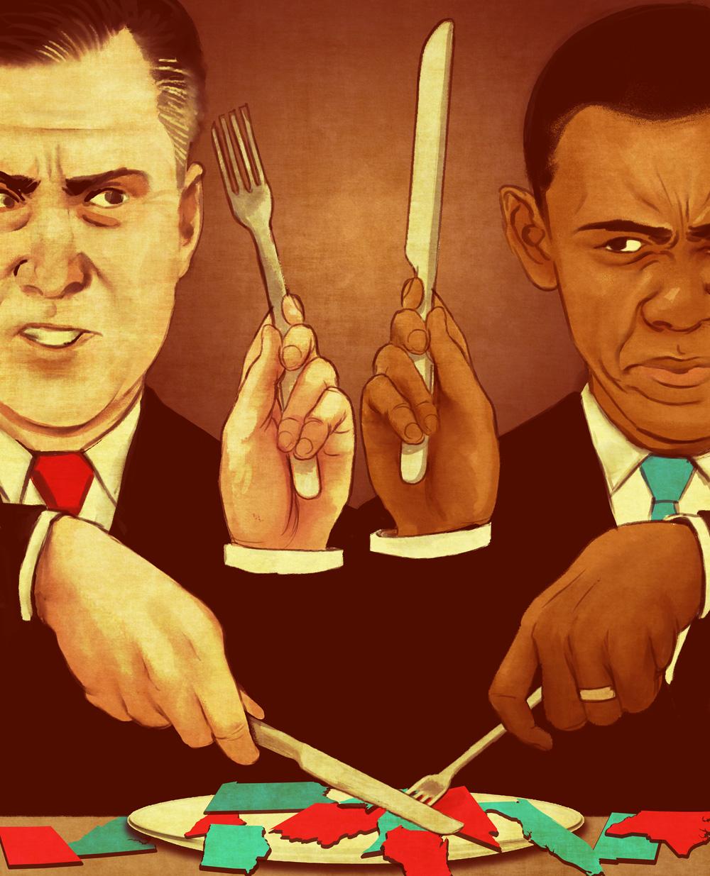 Obama/Romney illustration by Adam Rosenlund