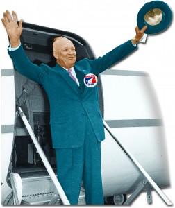 Ike on a plane.