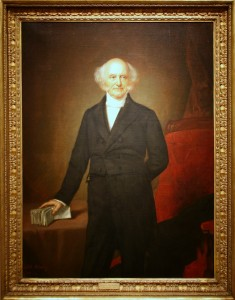 """Dutch Martin Van Buren, who was Jackson's running mate and successor, learned English as a second language. With Jackson he shared the Democratic conviction that English-American """"Yankees"""" were gaming the banking system to exploit the Common Man. Van Buren's coalition of American ethnic out-groups included Dutch, Scotch-Irish, Irish Catholics, and French."""