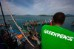 A flotilla of fishing boats greet the Rainbow Warrior in Thailand