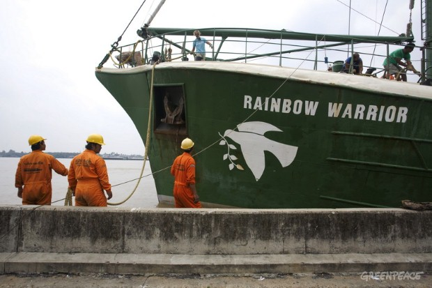 The Greenpeace flagship, Rainbow Warrior docks at Klong Toey Port, Bangkok