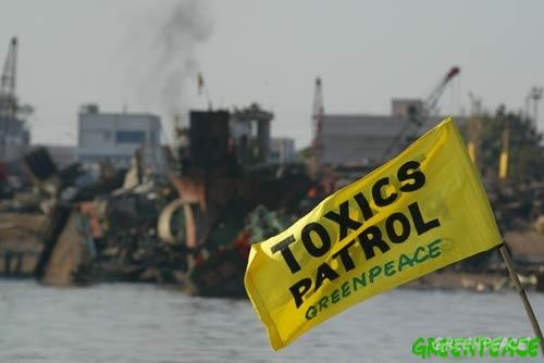 Greenpeace toxic patrol surveys the ship breaking yard at Alang