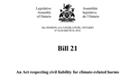 Landmark climate bill moves to committee stage in Ontario