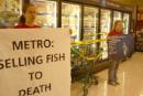 Greenpeace blocks    seafood freezer at Metro store in Hamilton