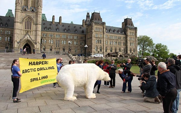 Greenpeace volunteers bring a life-like polar bear to Parliament Hill in Ottawa on the same day Canada begins its two year chairmanship of the Arctic Council. The polar bear stands by a banner reading Harper: Arctic drilling = spilling. The activity is carried out to call for more action to address climate change and curb the Arctic oil rush while the Arctic Council, an international forum set up to ensure the health and sustainability of the Arctic region, is meeting in Kiruna, Sweden.