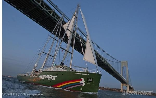 Rainbow Warrior Leaves New York. 02/03/2012 © Jeff Day / Greenpeace