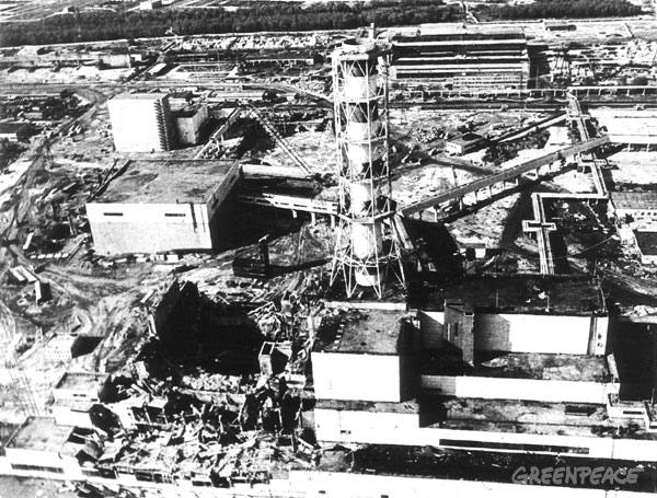 View of the destroyed no. 4 reactor of the Chernobyl nuclear power station. Following the explosion the fire and radiation leaks was not brought under control till 9 days after the accident.