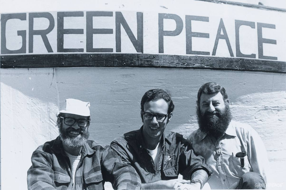 "The core of the 1970/71 ""Don't Make A Wave Committee"", which later formed Greenpeace: Irving Stowe, Paul Cote and Jim Bohlen."