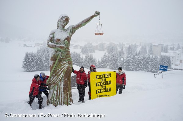 Greenpeace Switzerland activists have unveiled a 6m high statue of Justice on the outskirts of Davos ahead of the World Economic Forum. The action comes as Greenpeace International sets out the ten fundamental principles needed to cut environmental and human rights abuses by corporations in the 'Justice for People and Planet' report, which documents the root causes of these abuses — and how to stop them.