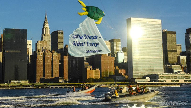 Greenpeace activists fly a giant turtle kite outside the United Nations headquarters in New York as countries gathered to begin negotiations, for the first time in history, towards a treaty covering all oceans outside of national borders.  The large and colorful kite, representing iconic marine life, was flown from boats on the East River., 8.18.95.UN Ocean Kite